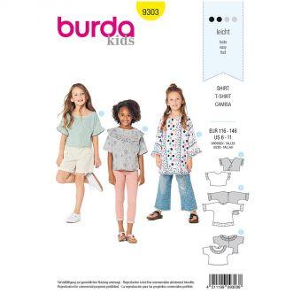 Patron Burda 9303 Tops, Tunique & T-shirts fille à manches intégrées volantées - de 6 à 11 ans