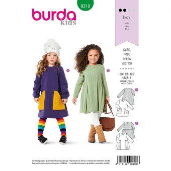 Patron Burda 9310 Robes avec poches de 2 à 7 ans
