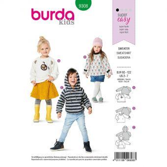 Patron Burda 9308 SweaTee-Shirt hoodie de 2 à 7 ans