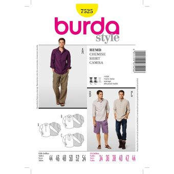 Patron Burda 7525 Chemise homme