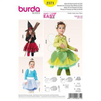 Patron Burda Carnaval 2371 - Déguisement de Sorcière, princesse des glaces et Elfe enfant