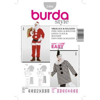 Patron Burda Carnaval 2466 - Déguisement Père Noel & Pierrot Homme