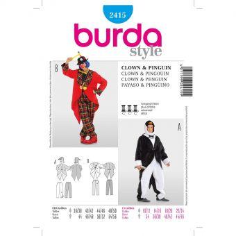 Patron Burda Carnaval 2415 - Déguisement Pingouin & clown Adulte Mixte