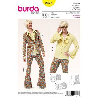 Patron Burda Carnaval 2374 - Déguisement Années 70 Homme