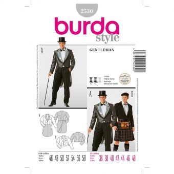 Patron Burda Carnaval 2530 - Déguisement  Veste Gentleman & Highlander Homme