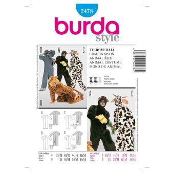 Patron Burda Carnaval 2478 - Déguisement Combinaison animale Adulte