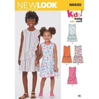 Patron New Look 6630 Robe à volants pour filles de 3 à 14 ans