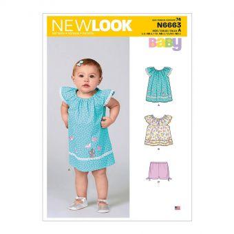 Patron New Look 6663 -  Robe pour bébé, haut avec appliques et garnitures et pantalon avec nœuds à l'ourlet