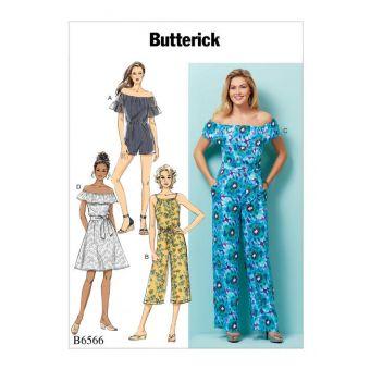 Patron Butterick 6566 Combinaisons et Robe épaules nues  du 32 au 54