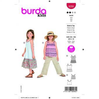 Patron Burda 9280 - Top et Robe enfant à bretelles du 104 au 140 cm