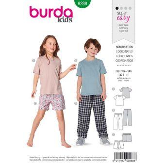 Patron Burda 9288 T-shirt pantalon short - de 4 à 11 ans