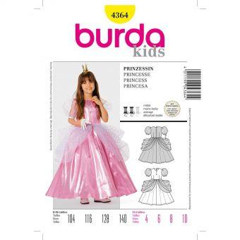 Patron Burda Carnaval 4364 -  Déguisement Historique de   Princesse enfant
