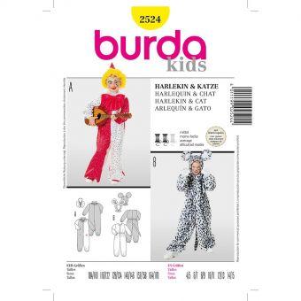 Patron Burda Carnaval 2524 - Déguisement Arlequin et Chat enfant