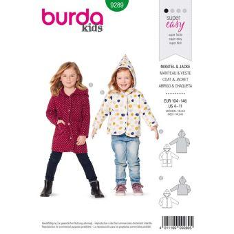 Patron Burda 9289 Manteau veste capuche - de 4 à 11 ans