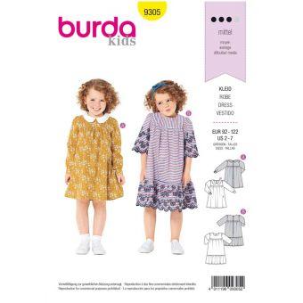 Patron Burda 9305 Robe filles trapèze – col Claudine & volant de jupe - de 2 à 7 ans