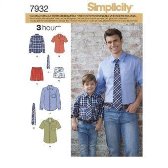 Patron Simplicity 8180 Chemise garçon et homme