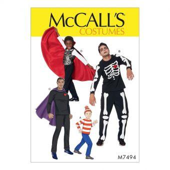 Patron McCall's 7494 déguisements de super - héros, squelette, vampire et où est charlie - Homme/ garçon