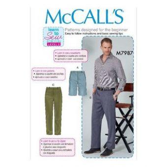 Patron Mc Call's 7987 - short et pantalon pour homme tailles du 40 au 54