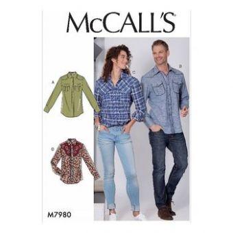 Patron Mc Call's 7980 - Chemises Adultes Mixte tailles du 38 au 60