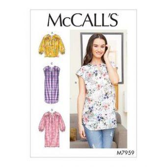 Patron Mc Call's 7959 - haut, tunique et robes pour jeune femme tailles du 34 au 50