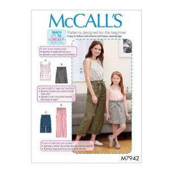 Patron Mc Call's 7942 - haut, jupe, short et pantalon pour femme et fillette toutes tailles