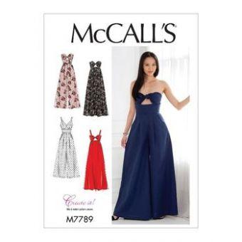 Patron Mc Call's 7789 - Robes et combinaisons,variations de corsage et pantalon plissé ou jupe froncée du 34 au 50
