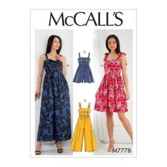 Patron Mc Call's 7778 - Robe et combinaison à bretelles du 34 au 50