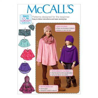 Patron McCall's 7012 Ponchos, bonnet et écharpe pour enfants / filles