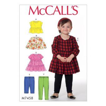 Patron McCall's 7458 Patron hauts, robes, et collants pour enfants