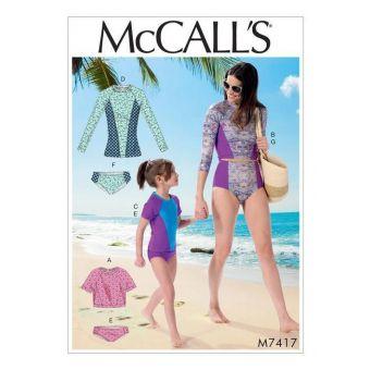 Patron McCall's 7417 Patron de maillots de Bain Rashguard avec manches - Femmes/ Fille