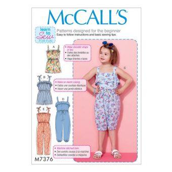 Patron McCall's 7376 Patron de combinaisons pour petites filles