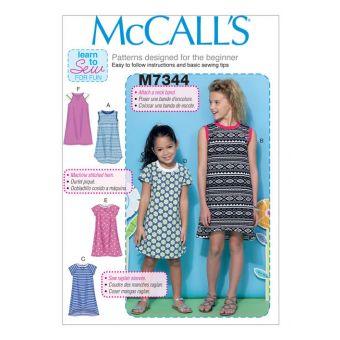 Patron McCall's 7344 Robes pulls à manches raglan pour filles