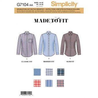 Patron Simplicity 8753 Chemise pour hommes de 44 à 62