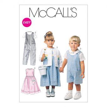 Patron McCall's 6304 Barboteuses pour tout - petits en 2 longueurs, robes, veste et chemise
