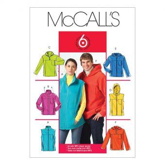 Patron McCall's 5252 Vestes et Gilets à col montant ou à capuche pour femmes/ hommes