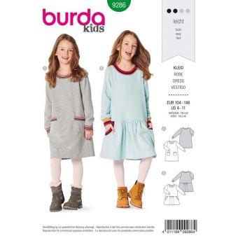 Patron Burda 9286 Robe robe façon Tee-Shirt à bordures - de 4 à 11 ans