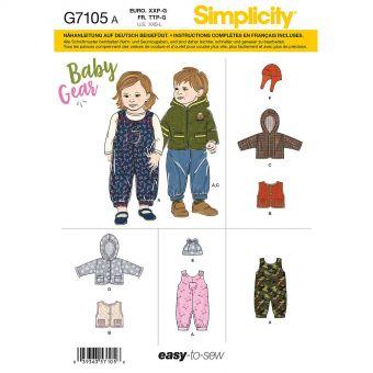 Patron Simplicity 8759 Ensemble salopette et veste pour bébé de 0 à 18 mois
