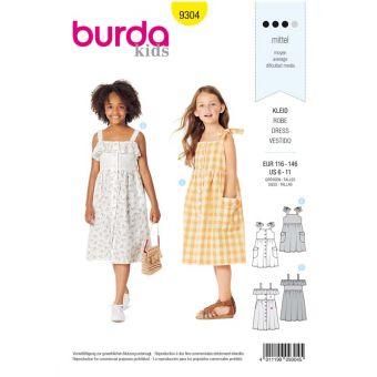 Patron Burda 9304 Robes chemise fille à bretelles & col bardot - de 6 à 11 ans