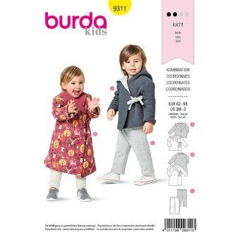 Patron Burda 9311 Veste à capuche et pantalon de 3 mois à 3 ans