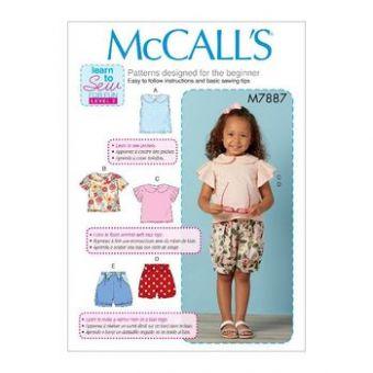 Patron Mc Call's 7887 - Haut et short Fille de 6 mois à 4 ans