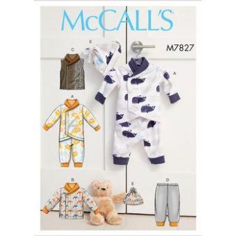 Patron Mc Call's 7827 - Grenouillère, veste , gilet, pantalon et bonnet bébé de 0 à 24 mois