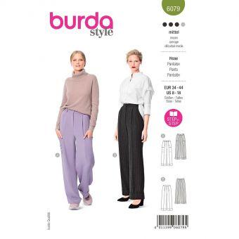 Patron Burda 6079 - Pantalon avec pinces et ceinture en forme du 36 au 46
