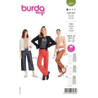 Patron Burda 6085- Pantalon à ceinture élastique et jambes droites du 36 au 46