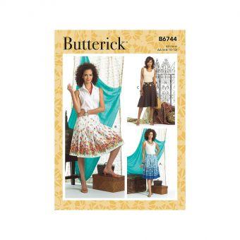 Patron Butterick 6744 Jupe plissée et évasée