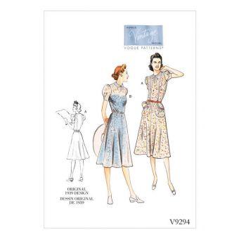 Patron Vogue 9294 Robe femme Vintage 1930's Thirtees - dessin original de 1939 - du 34 au 50