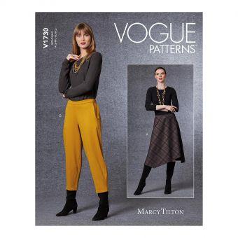 Patron VOGUE 1730 Jupe en tricot, ourlet asymétrique + Pantalon 3/4 du 36 au 52