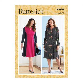 Patron Butterick 6805 - Robe avec découpe et fronces  sous - poitrine du 34 au 52