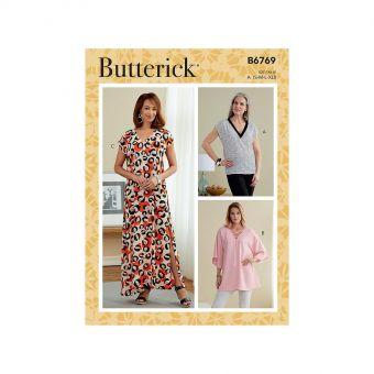 Patron Butterick 6769 Top, Tunique et Robe, encolure V du 36 au 50