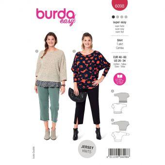 Patron Burda 6098 - Tee-Shirt à manches kimono du 48 au 62