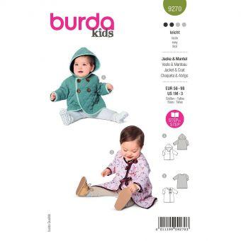 Patron Burda 9270- Veste Bébé à capuche, manteau avec liens à nouer du 56 au 98